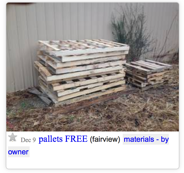 Pallets in Craigslist