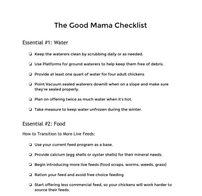 Good Mama Checklist