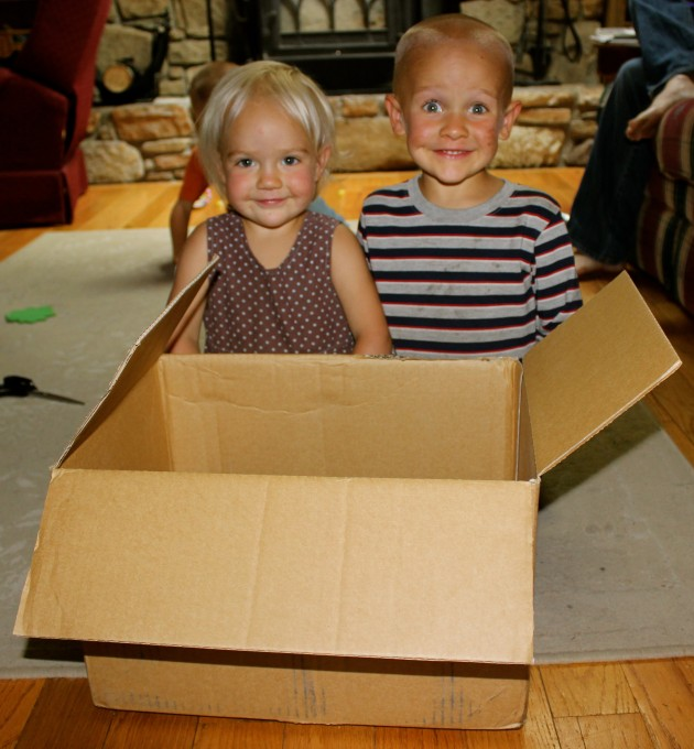 Get a box and some helpers (if you have them!).